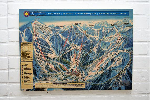 Brighton Ski Resort Maple Wood Trail Map - Including Free Shipping