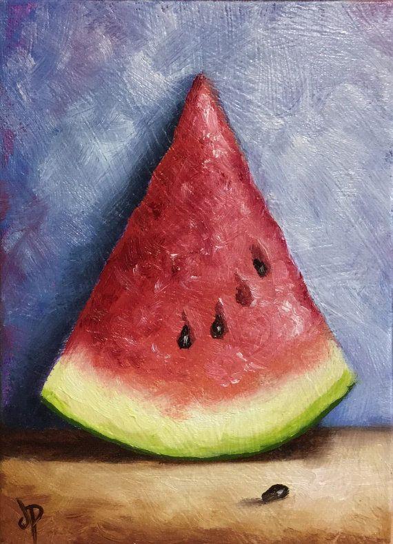Tall Watermelon Slice Ready to hang Original Oil by JanePalmerArt