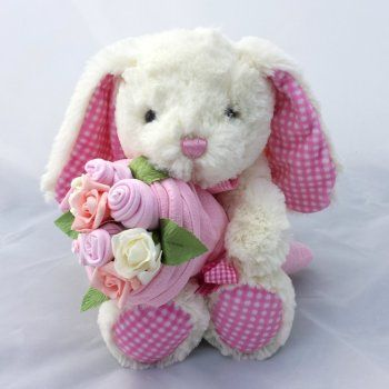 Baby Girl Bunny Bouquet, made with real baby clothes. Perfect new baby gift or baby shower present