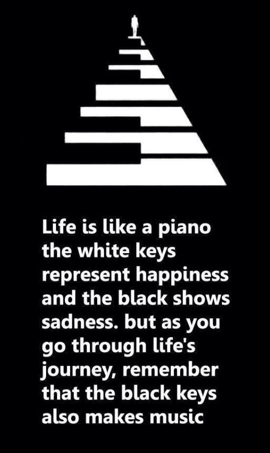Life is like a piano the white keys represent happiness and the black shows sadness. But as you go through life's