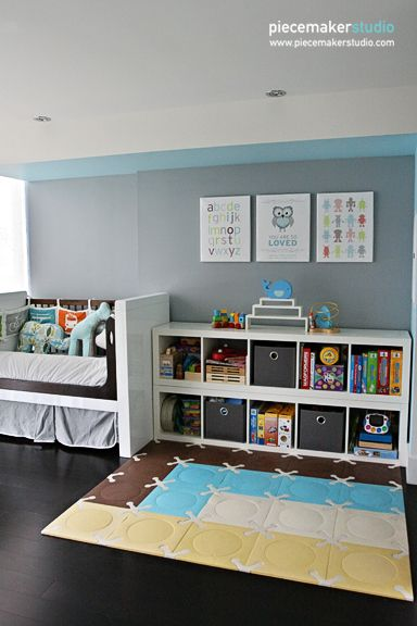 Toy storage and play area in this toddler's room - #storage #bigkidroom: Toddlers Rooms, Rooms Storage, Modern Kids, Boys Nurseries, Boys Rooms, Rooms Ideas, Baby Rooms, Kids Rooms, Toys Storage