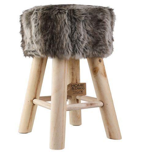 Fellhocker Hocker Sitzhocker Shemel Fußhocker Holz Felloptik Stuhl Fell NEU