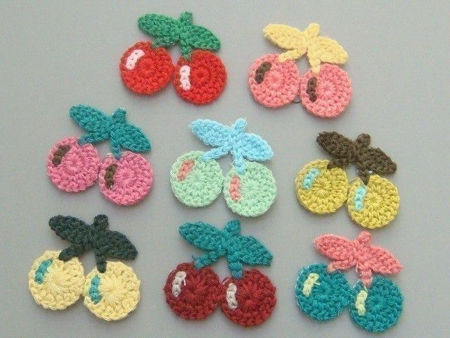 8 Crochet Cherry Appliques 8 Colors EA129. $3.95, via Etsy.