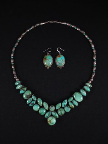 Navajo Silver & Turquoise Necklace & Earrings Set - I want to be classy and wear something like this to a fancy event someday
