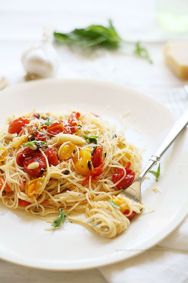 Easy Roasted Cherry Tomato and Garlic Cappellini with or without shrimp scampi #recipe
