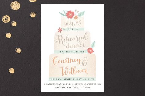 Sweet Cake Rehearsal Dinner Invitations by Monika Drachal at minted.com