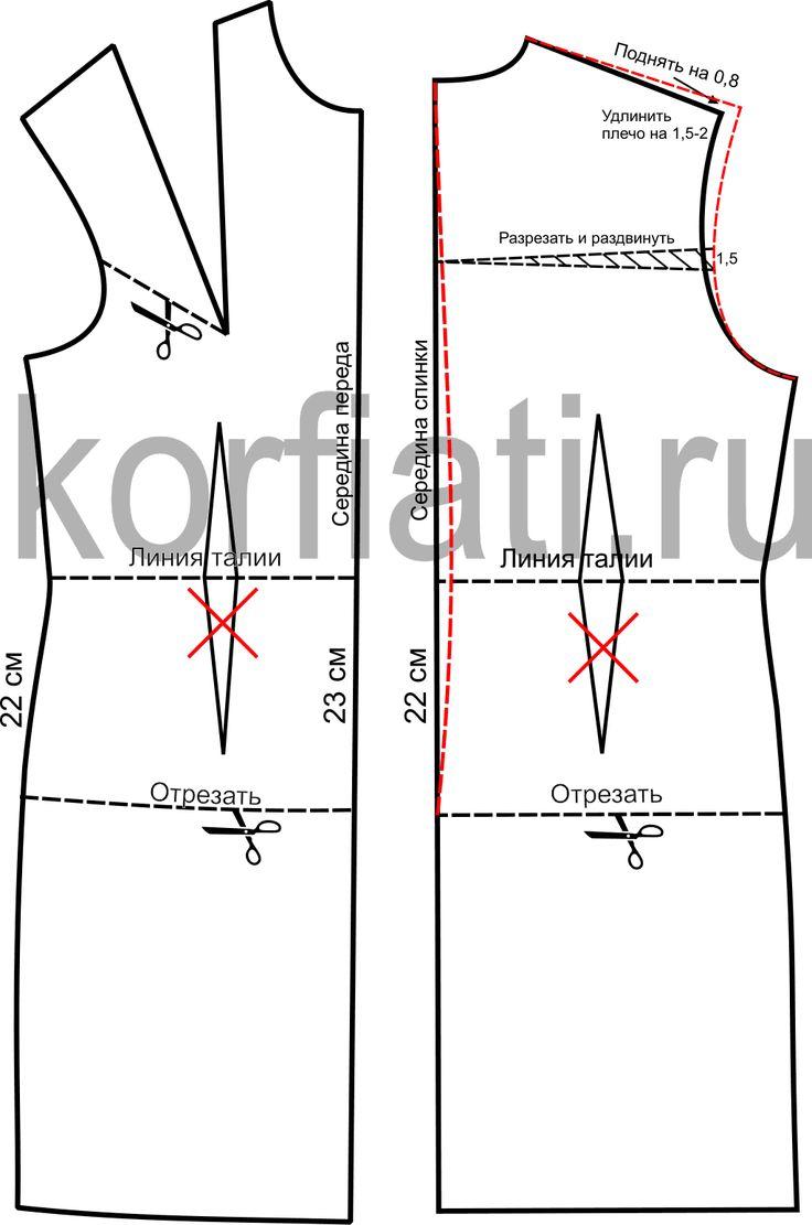 Выкройка дубленки - моделирование полочки и спинки