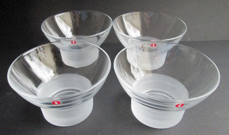 Set of 4 Marius vintage crystal dessert bowls by Iittala Finland Marius design Markku Salo 1985. Price is per 4. by SCALDESIGN on Etsy
