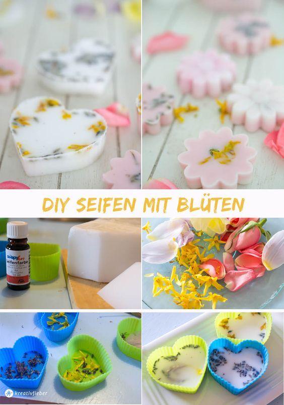 Seifen mit Blüten gießen, Seife DIY, soap making, flower soap
