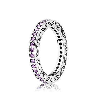 PANDORA | Silver ring, fancy purple cubic zirconia