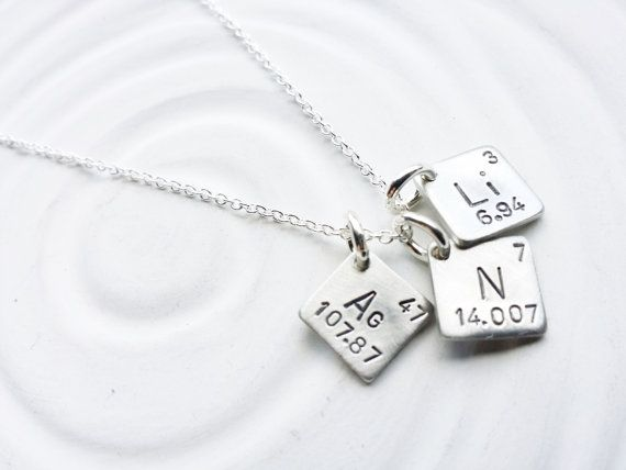 Itty Bitty Jewelry - Periodic Table Element Necklace - Hand Stamped, Personalized Jewelry - Spell with Elements - Science Gift -Geek Gift