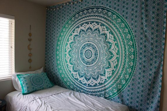Hippie Trippy Turquoise & Teal Ombre Mandala by LadyScorpio101