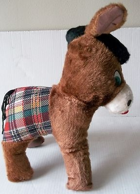 Vintage Stuffed Animal Donkey Plaid Plush Burro Mule Wire Ears Cellulose Fiber   www.baltimoreandmore.com