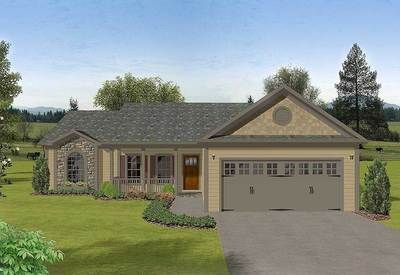 With its front porch, planter, and combination of siding, wood shingles, and stone, this compact ranch is warm and irresistible. With a truss roof system and simple design, this cost-effective plan is perfect for the budget-conscious. Though only 1381 square feet, you'll find a 10'x15' kitchen, a 16'x12' master bedroom, and two spacious secondary bedrooms. Beyond the front porch and through the entry ...