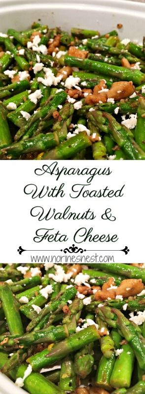 Tender Young Asparagus Sauteed with chopped walnuts in walnut oil and garlic and topped with creamy feta cheese crumbles. A Easy Asparagus Side Dish. So delicious!