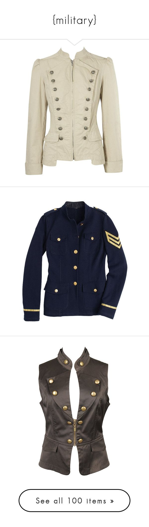 """""""{military}"""" by toxicretrogirl ❤ liked on Polyvore featuring outerwear, coats, jackets, casacos, military, military style coat, oasis coats, military coat, brown coat and tops"""