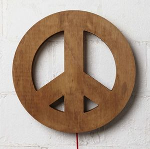 Plywood Peace light with red fabric-covered flex. Uses a 40 watt eco bulb.  Measures 45cm diameter x 9.5cm deep.  @themarketnz  #Clevercreations