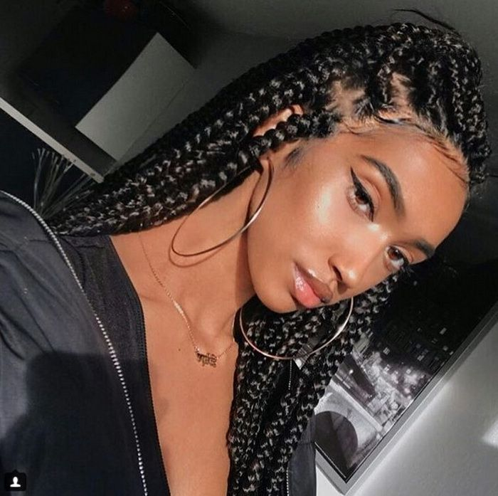 Long Big Cornrow Braided Natural Hairstyles 2018 2019 Braids For Black Hair Braided Hairstyles Braided Ponytail Hairstyles