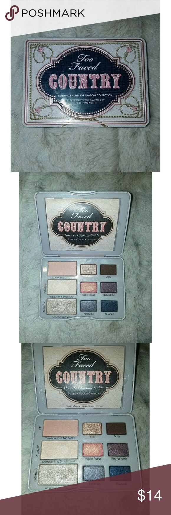 Too Faced Country Eyeshadow Palette Only used a few of the shades, several never used. Comes with How-To Glamour Guide. Too Faced Makeup Eyeshadow