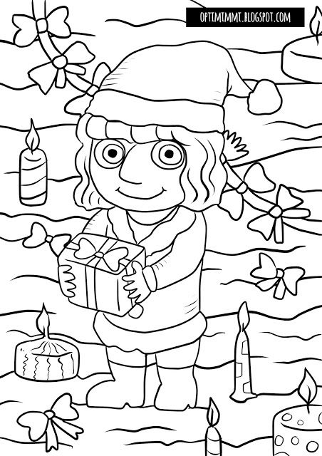OPTIMIMMI | A free printable coloring page of a Christmas elf / Ilmainen tulostettava värityskuva joulutontusta