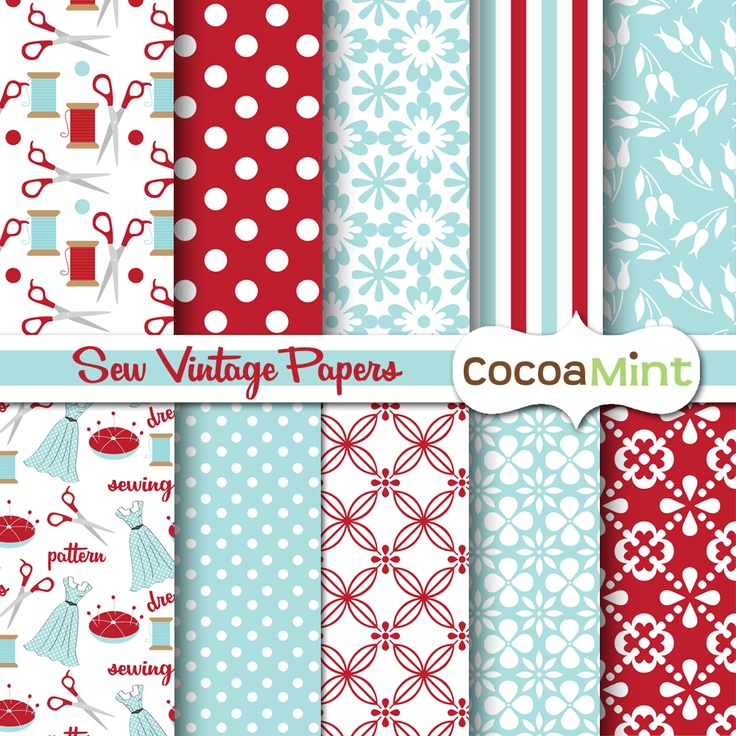 A Scoop of Cocoa: Sew Vintage Clip Art and Papers