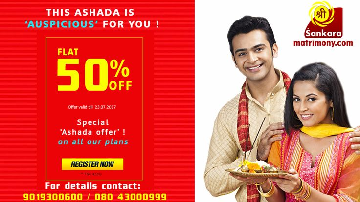 Sri Sankara Matrimony is Online Matrimony Website for Hindus in Mumbai , Now offering a 50% discount on all plans on account of Asada Masa