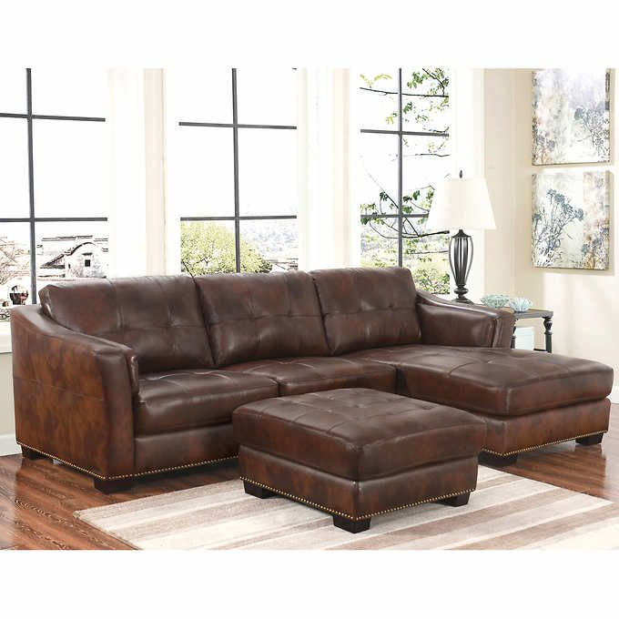 Costco Chelsie Top Grain Leather Chaise Sectional And Ottoman Living Room Set Ottoman In Living Room Leather Chaise Sectional Living Room Sets