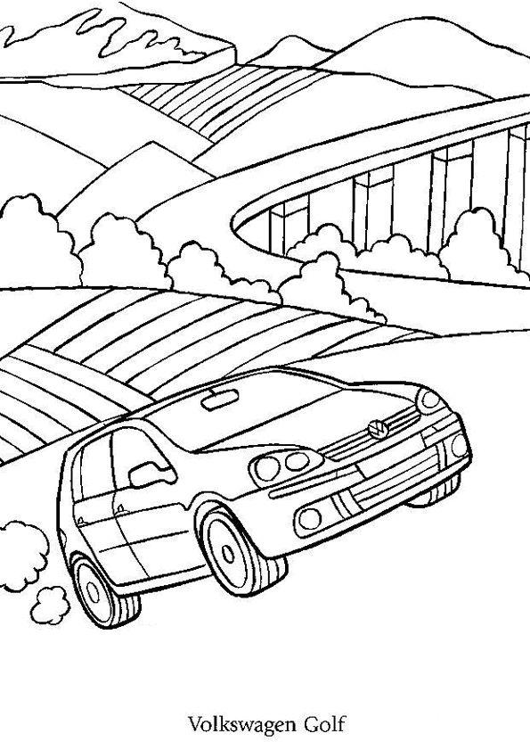 coloriage d 39 une voiture volkswagen golf en route pour les montagnes coloriages de voitures. Black Bedroom Furniture Sets. Home Design Ideas