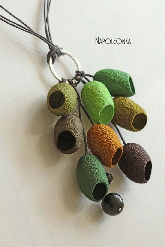 Cocoon necklace Pendant Silk worm cocoon Jewelry Lime Green Beige Brown Woman Lady Trendy Statement necklace Minimal necklace Necklace