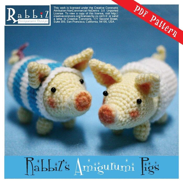PDF Pattern – Amigurumi Poogie Pigs (Set of Two) by rabbizdesign on Etsy www.ets…