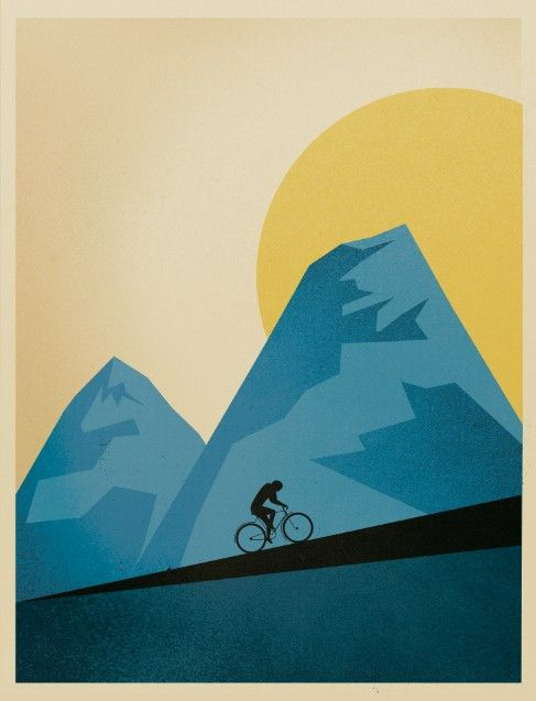 cool poster. yellow. blue. bicycling. retro.