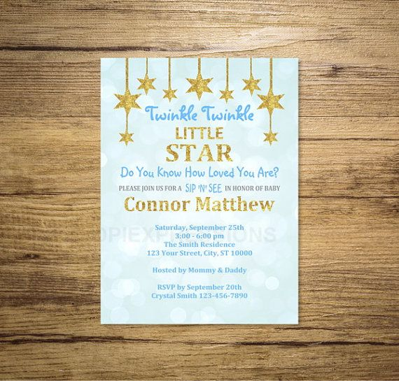 Twinkle Twinkle Little Star Sip And See Invitation, Blue And Gold Glitter Boy Sip N See Invitation, Sip & See Invite, Digital or Printed