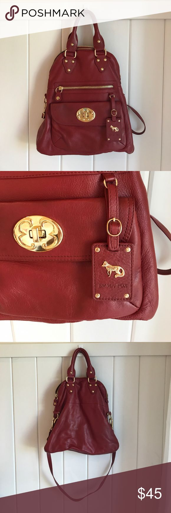 Burgundy Emma Fox cross body bag Burgundy Emma Fox cross body bag. Good used condition, leather is in perfect condition. Only signs of wear are a couple of strings loose on strap. I bought it discounted because the interior pocket came unstitched in store. Still functional and in great shape. Lots of life left in this beautifully made purse. Looks cute on arm or cross-body. Offers welcome, if reasonable. Smoke/pet free home. Emma Fox Bags Crossbody Bags