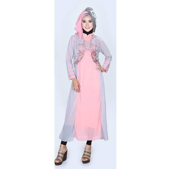 Baju gamis modern cantik – Model baju gamis modern untuk pesta terbaru warna pink nan elegan. Trend harga jual baju gamis dewasa modern grosir online shop.