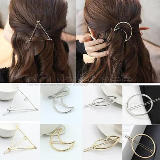 Fashion Women Gold Silver Circle Triangle Hair Clip Barrette Bobby Pin Hairpins Alloy China Jw4804731a1