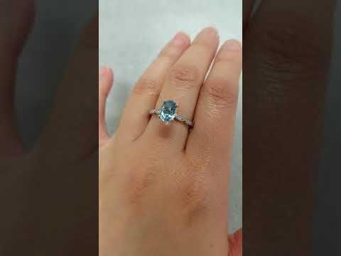 (1) Oval Blue Aquamarine Engagement Ring - Leaf Diamond Band - YouTube