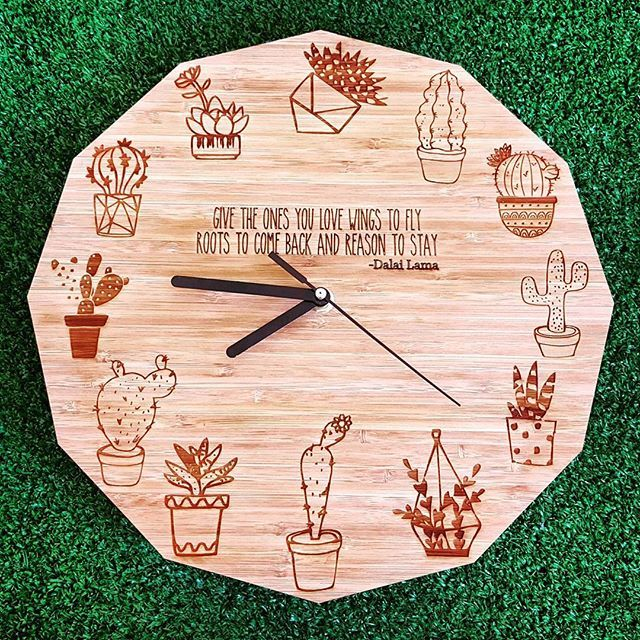 Cacti Clock by HALLO JANE A cactus for every hour *quotes can be customized  #cactus #cacti #clock #hallojane