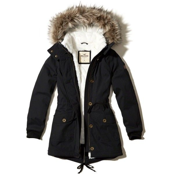 Hollister Sherpa Lined Parka (440 BRL) ❤ liked on Polyvore featuring outerwear, coats, black, faux fur trim hooded coat, faux fur trim hooded parka, hooded parka coat, utility parka and faux coat