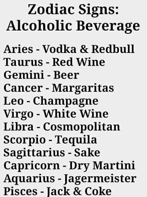 Zodiac Signs - Alcoholic Beverages - Too funny  Cheers!