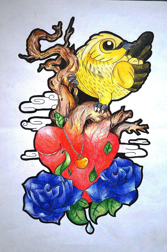 ABRIL: el chamariz en el chopo -¿y que mas?  el chopo en el cielo azul -¿y que mas?  el cielo azul en el agua -¿y que mas?  el agua en la hojita nueva -¿y que mas?  la hojita nueva en la rosa -¿y que mas?  la rosa en mi corazon -¿y que mas?  ¡Mi corazon en el tuyo!  #ilutracion #corazon #chopo #chamariz #pajaro #ave #jakewatter