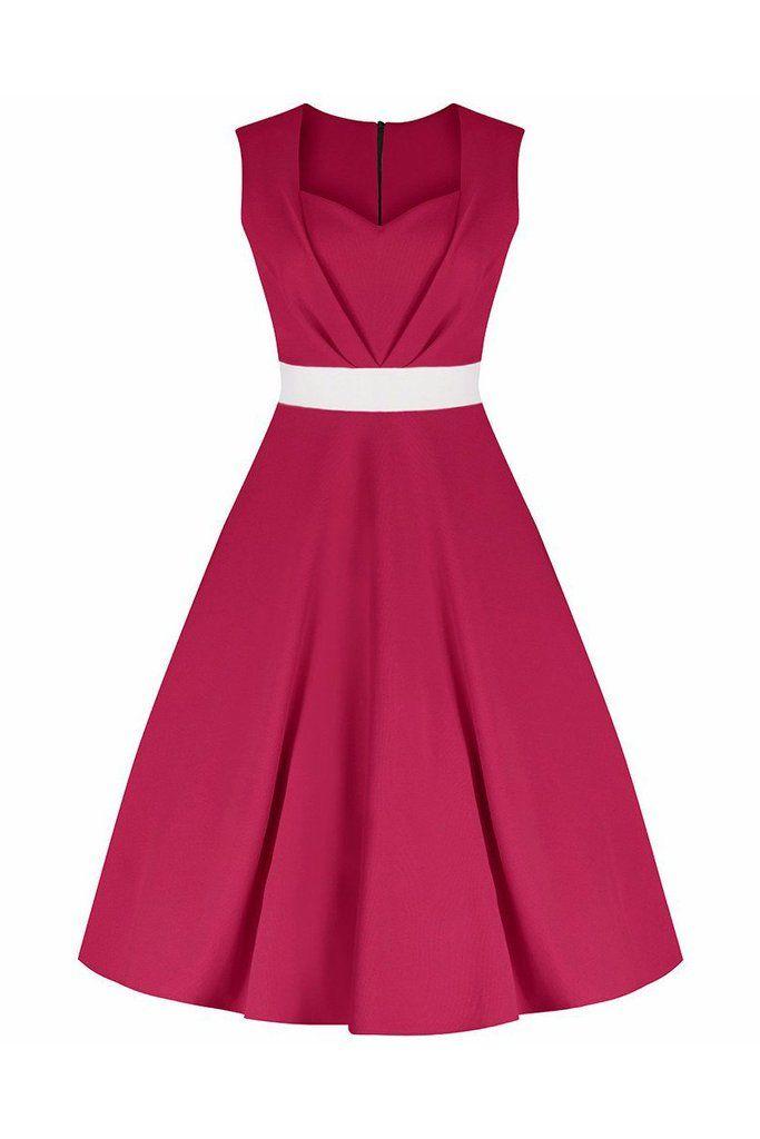 Fuschia Pink Raspberry 50s Swing Dress