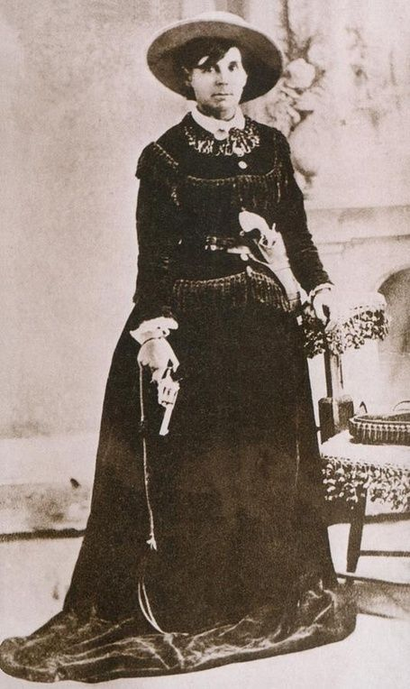"""Belle Starr. Her name has been associated with Jesse James Gang and other notorious outlaws. She outlived several husbands and lovers. """"There are no records that she was ever involved in murder, the robbery of trains, banks, stagecoaches or cattle rustling. However, she was a convicted horse thief."""" She was killed on her 41st birthday. 1889. Her grave is commorated by a headstone erected by her daughter Pearl from money she earned working in a brothel."""