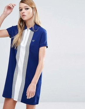 Fred Perry Polo Dress With Vertical Stripe