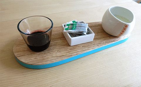 Breakfast setting with a wooden kitchen board.