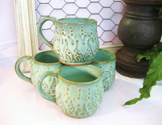Mediterranean Ceramic Cup Mug  Set of 4  by BackBayPottery, on Etsy