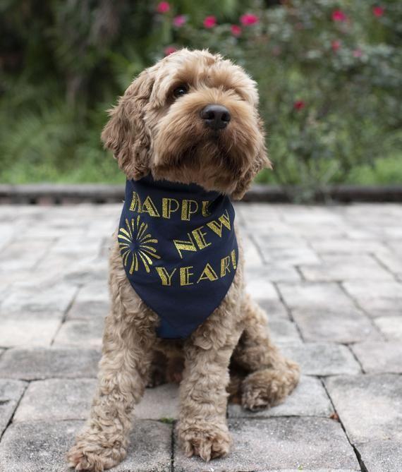 Happy New Year Dog Bandana Pet Scarf For Holidays Navy Blue Etsy In 2020 Happy New Year Dog Pet Scarf Dog Bandana