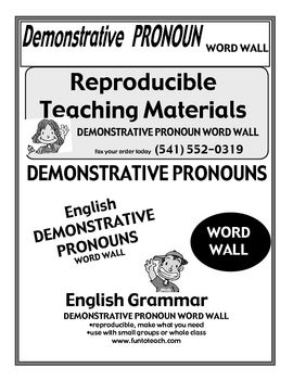This and That - Demonstrative Pronoun Word WallThis package includes a word wall for the 4 demonstrative pronouns, teacher guide and ideas.  Th...