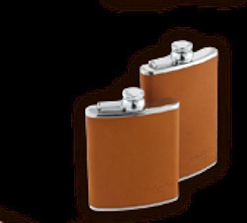 calvados presentee en flasque metal et cuir 12.5cl 12 ans d'age neuf