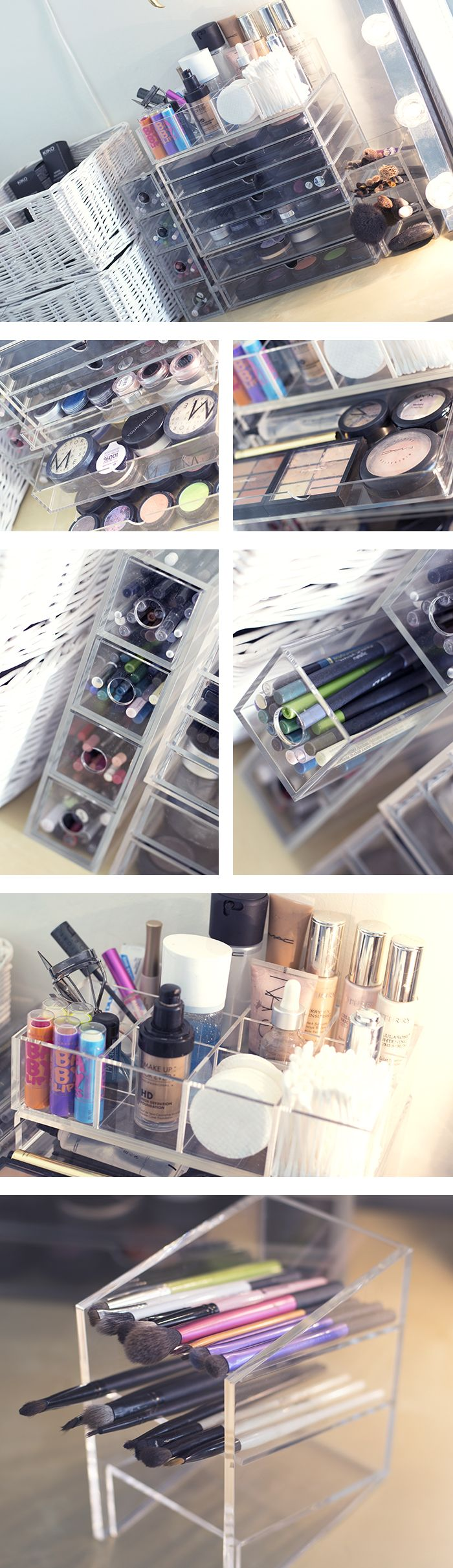 Great set up. Looks like Muji pieces to me. Inspiration for my spring organizing projects. And the makeup is fantastic in these shots.