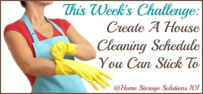 Get ready to create a house cleaning schedule that you'll actually stick to (plus get a link to a free 40 page ebook to help you out!)
